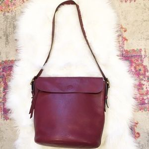 Large Fossil Leather Burgundy Flap Crossbody